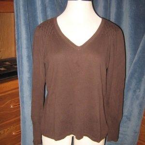 Brown Waffle Pucker Shoulder V Neck Sweater XL